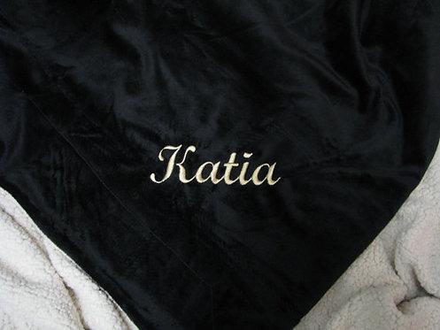Luxurious Personalized Black Blanket Throw