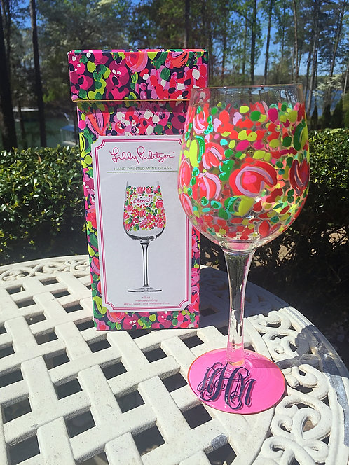 Monogrammed Lilly Pulitzer Hand Painted Wine Glass