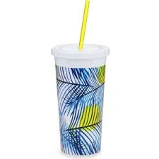 ban.do Palm Tree Sip Sip Tumbler with Straw