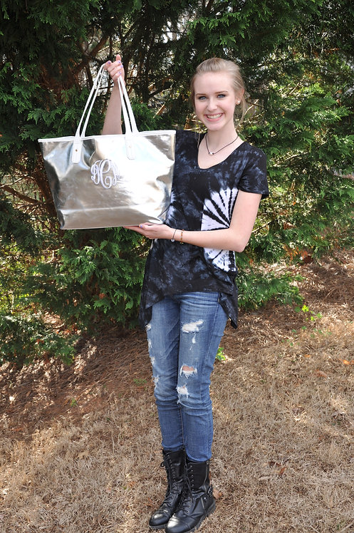 Monogrammed ban.do Everything Tote-Metallic Silver