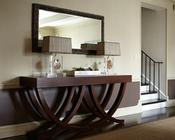 Interesting-Grey-Shaded-Table-Lamps-on-Solid-Teak-Narrow-Hallway-Table-under-Narrow-Wall-Mirror-on-G