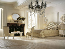 Luxury-Master-Bedroom-Design-Ideas-with-White-Armchairs-and-Coffee-Table-also-Classic-Crystal-Chandl