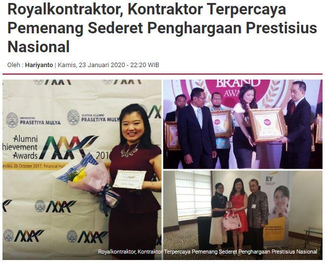 Royalkontraktor, Kontraktor Terpercaya Pemenang Sederet Penghargaan Prestisius Nasional