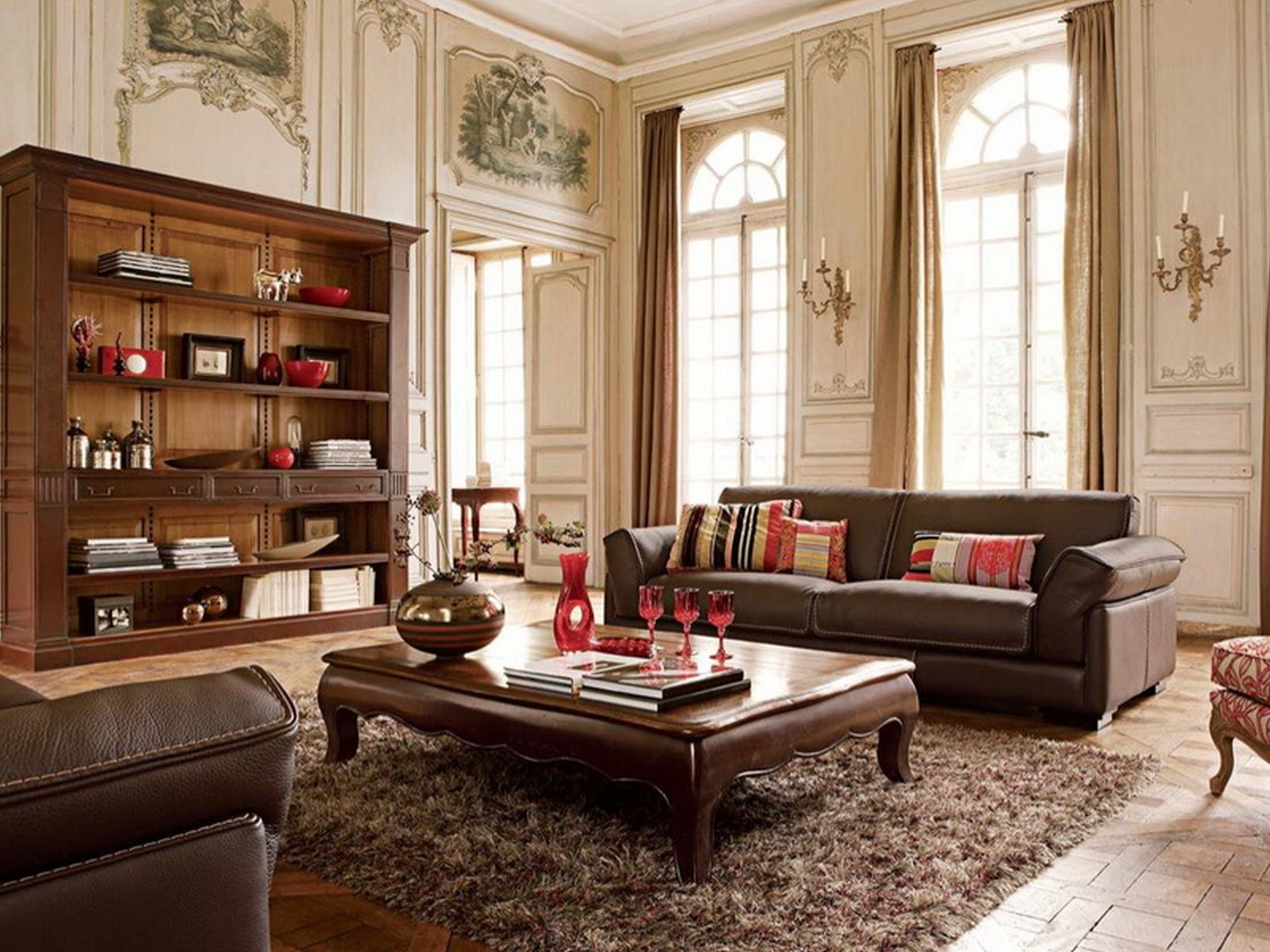 lovable-built-in-open-storage-cabinets-with-rectangular-teak-wood-coffee-desk-as-well-as-luxury-sofa