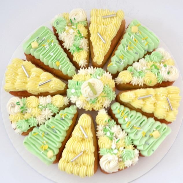 8 Slice ~ $40 10 Slice ~ $50 12 Slice ~ $60 14 Slice ~ $70  - 8 slice comes with a mini cupcake centre, 10 & 12 slice come with a regular/standard cupcake centre and 14 slice comes with a large cupcake centre  * sprinkles may vary