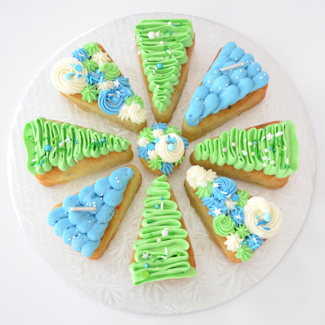 8 Slice ~ $40 10 Slice ~ $50 12 Slice ~ $60 14 Slice ~ $70  - 8 and 10 slice come with a mini cupcake in the middle, 12 slice comes with a regular cupcake in the middle, 14 slice comes with a large cupcake in the middle - Can select any flavour from our list - Can select up to 3 different colours * Sprinkles may vary