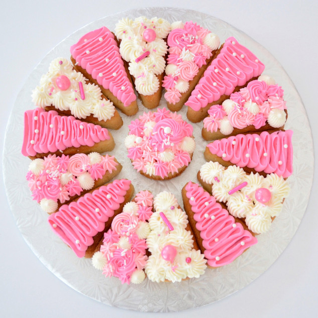 8 slice ~ $40 10 slice ~ $50 12 slice ~ $60 14 slice ~ $70  - Can select any flavour from our list  - 8 & 10 slice comes with a mini cupcake in the middle - 12 slice comes with a standard cupcake in the middle - 14 slice comes with a large cupcake in the middle  - Can select up to 3 colours  * Sprinkles may vary