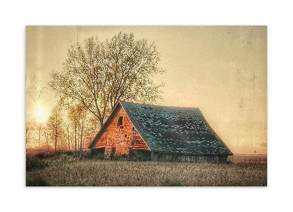 Light Pillar Barn Postcard