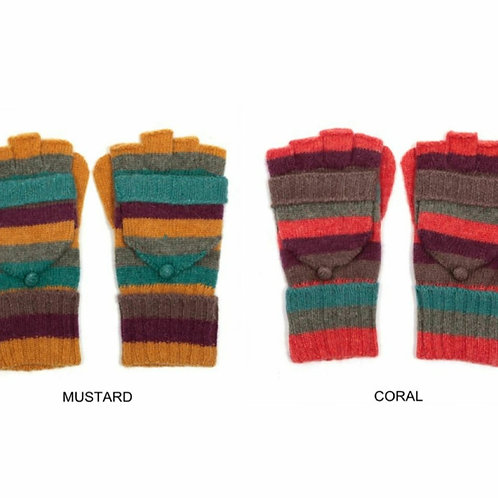 Colourful striped mittens