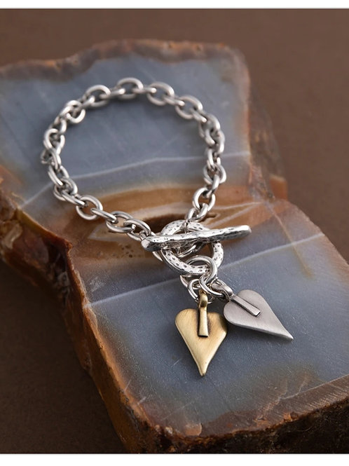 Double signature heart T-bar bracelet