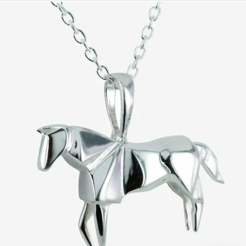 Sterling silver origami horse necklace  (BB87)