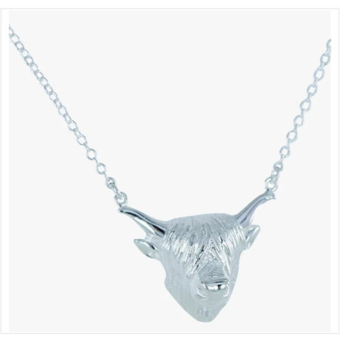 Sterling silver highland cow necklace  (BB169)