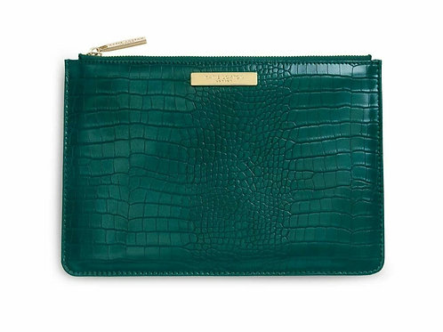 Celine croc perfect pouch- Forest green