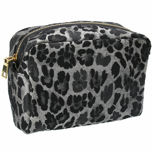 Silver leopard jacquard cosmetic pouch