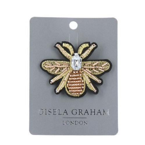 Gold bee beaded brooch