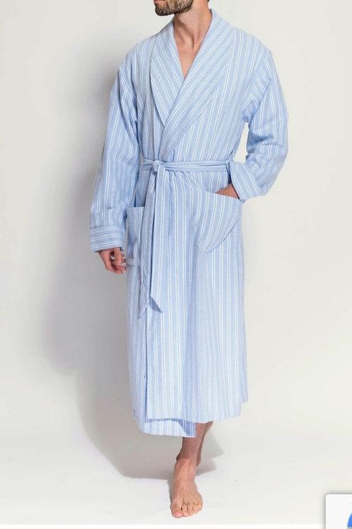 Blue and White westood stripe- brushed cotton men's robe