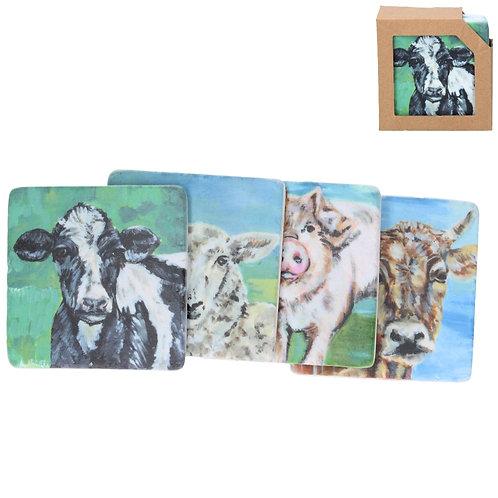Watercolour animals resin coasters