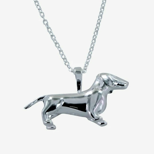 Sterling silver dachshund dog necklace (BB65)