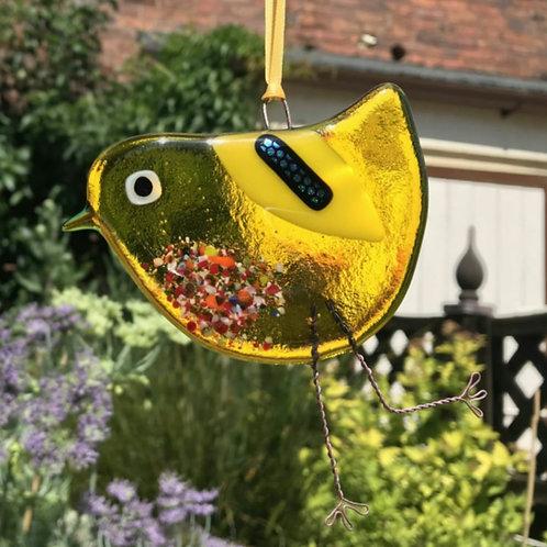 Yellow Fused Glass Bird