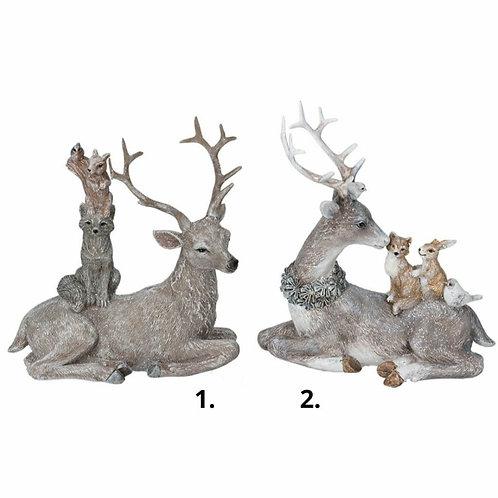 Stag and woodland animals ornament (20493)