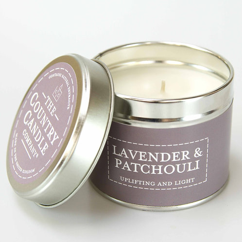 Lavender and patchouli tin candle- pastels collection