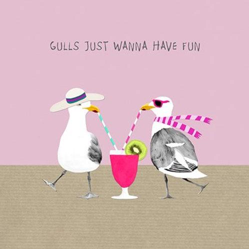 Gulls just wanna have fun- greetings card