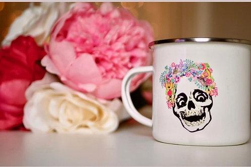 Laughing Skull Enamel Mug