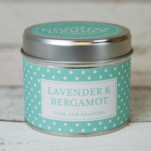 Lavender and bergamot tin candle- Polkadot collection