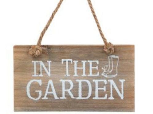 "Wooden ""in the garden"" sign"