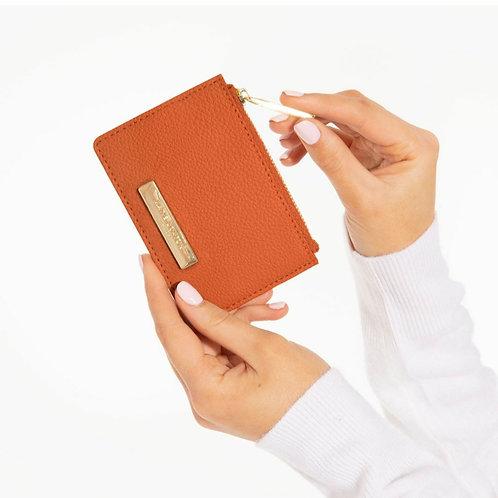 Alise soft pebble card holder- Burnt orange