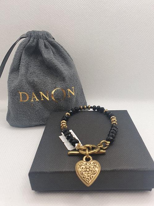 Gold heart beaded bracelet