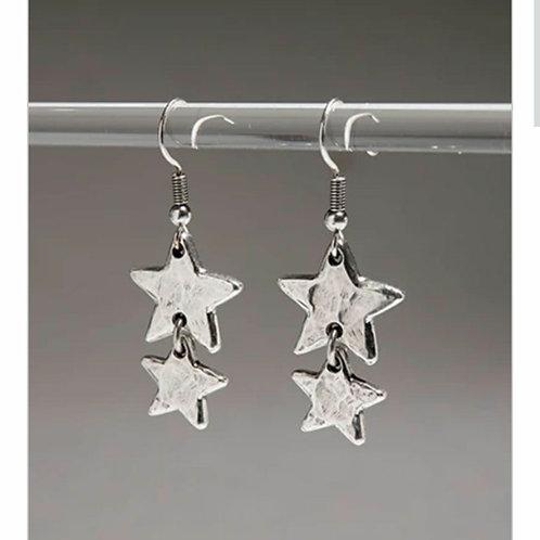 Double star drop earrings