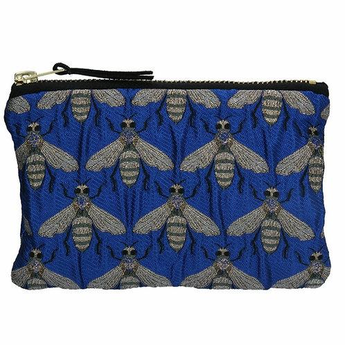 Blue bee jacquard purse