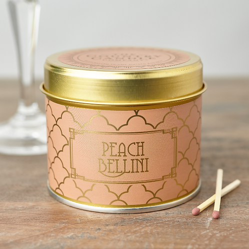 Peach bellini tin candle- Happy hour collection