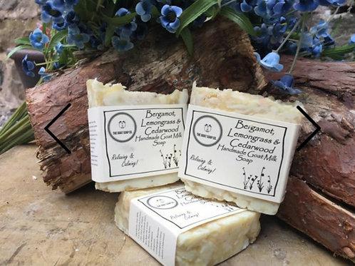 Bergamot, lemongrass and cedarwood goat milk shampoo bar