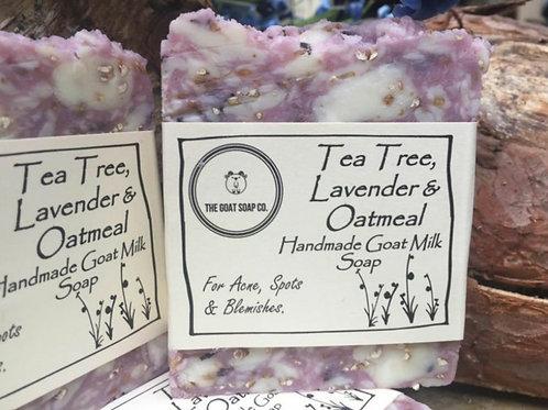 Tea tree, lavender & oatmeal goat milk soap