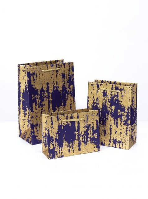 Splash print gift bags- Navy and gold (5 sizes available)