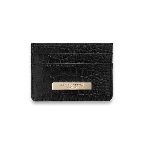 Celine Faux Croc Cardholder- Black