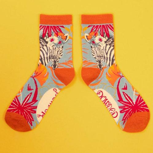 Floral Zebra Ankle Socks