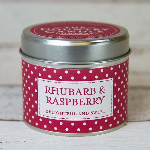 Rhubarb and raspberry tin candle- Polkadot collection