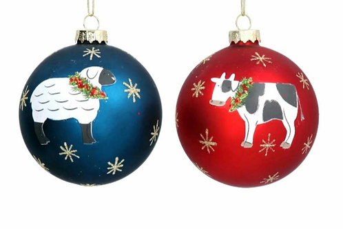 Cow and sheep baubles