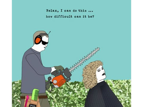 Haircut with hedgetrimmer -Greeting Card