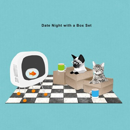 Date night with a box set-Greeting Card