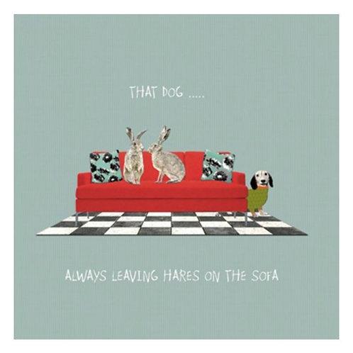 Hares on sofa -Greeting Card