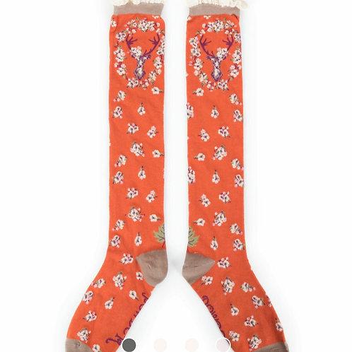 Stag knee high socks - Tangerine