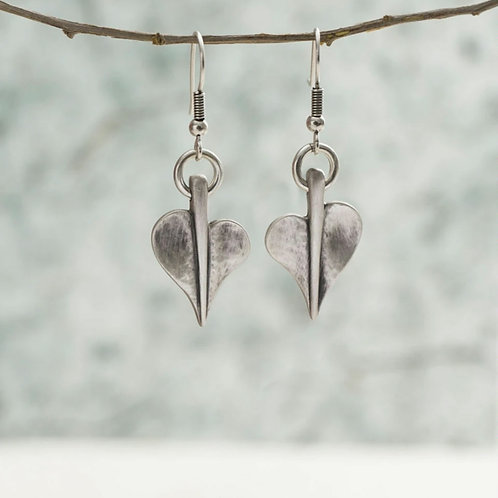 Mini leaf of love drop earrings