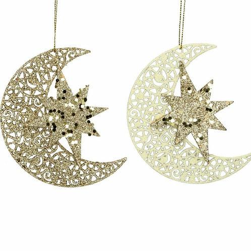 Cream/Gold wooden moon decoration (17045)
