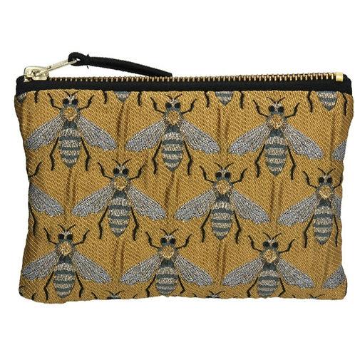 Gold bee jacquard purse