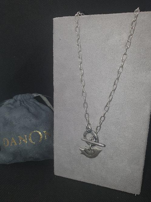 Textured bird T-bar necklace