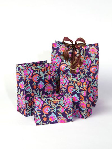 Floral twist gift bags- Purple (4 sizes available)